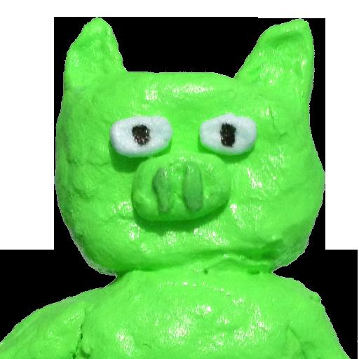 ネタバレ注意を促す黄緑のブタ